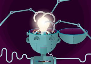 Robot brain with light bulb